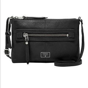 Fossil Dawson Black Leather Crossbody
